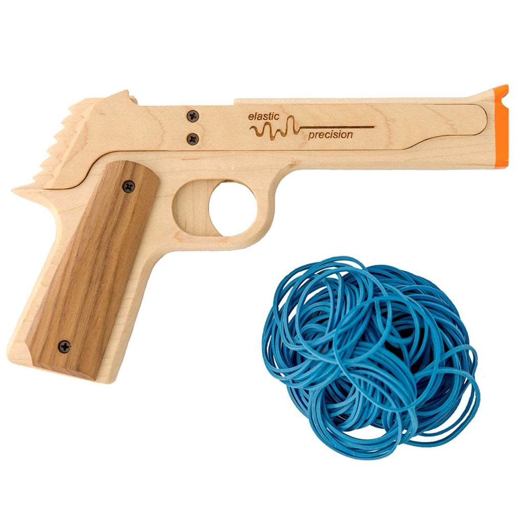 Semi-Automatic Six Shooter Rubber Band Gun Close Up - Perfect Birthday Gift For Boss