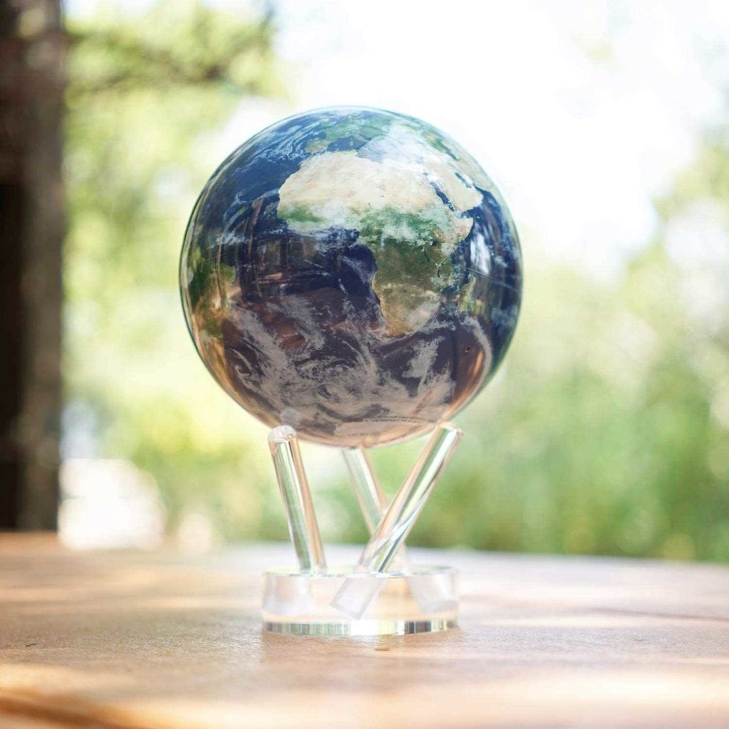 Solar Powered Rotating Earth with Clouds Globe By Window - High End Christmas Gifts For Men