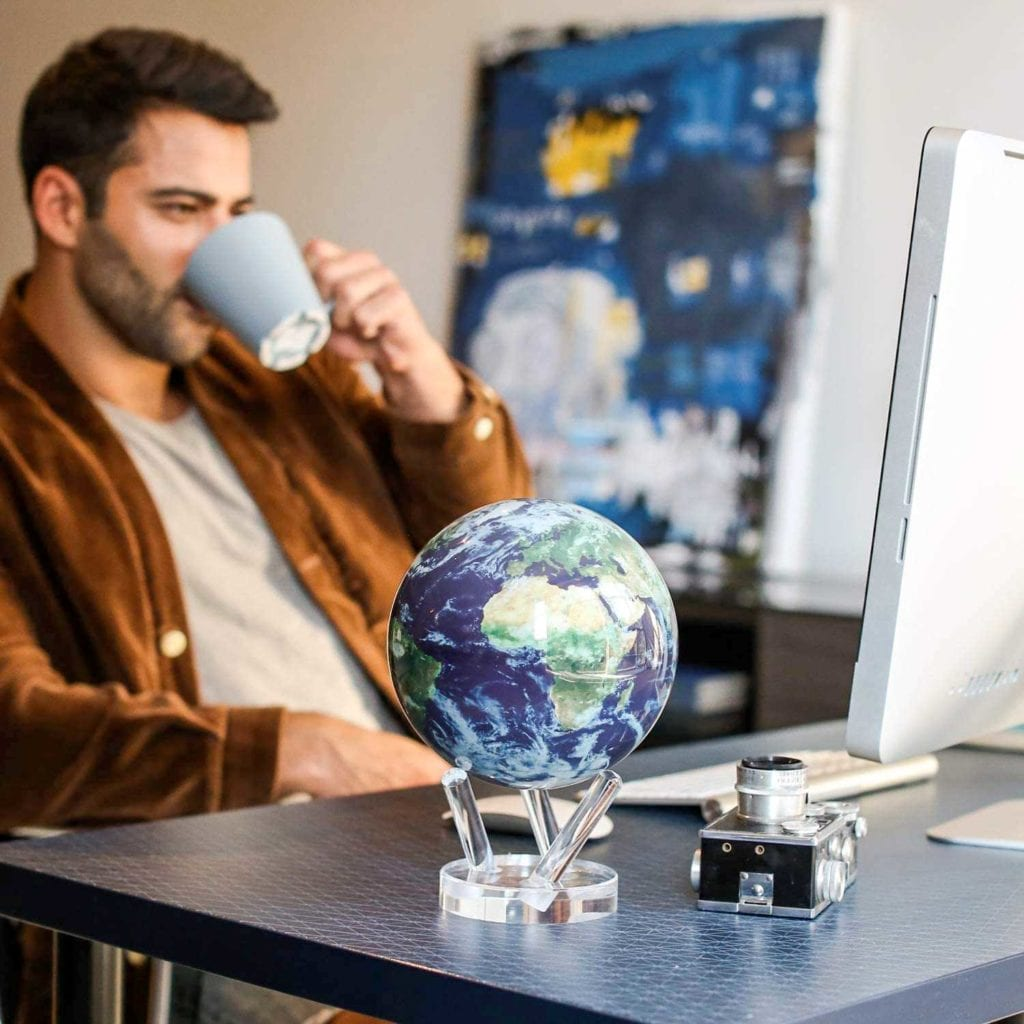 Solar Powered Rotating Earth with Clouds Globe on Desk - High End Christmas Gifts For Men
