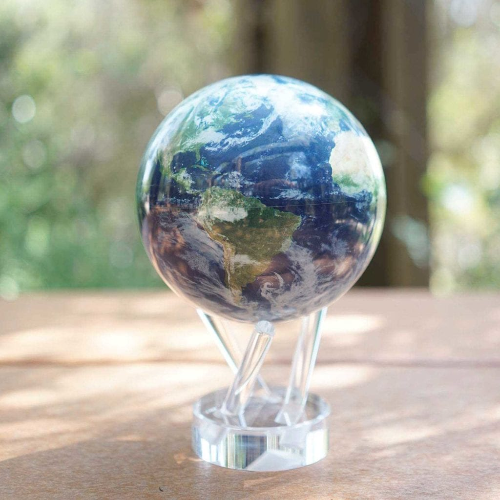 Solar Powered Rotating Earth with Clouds Globe on Table - High End Christmas Gifts For Men