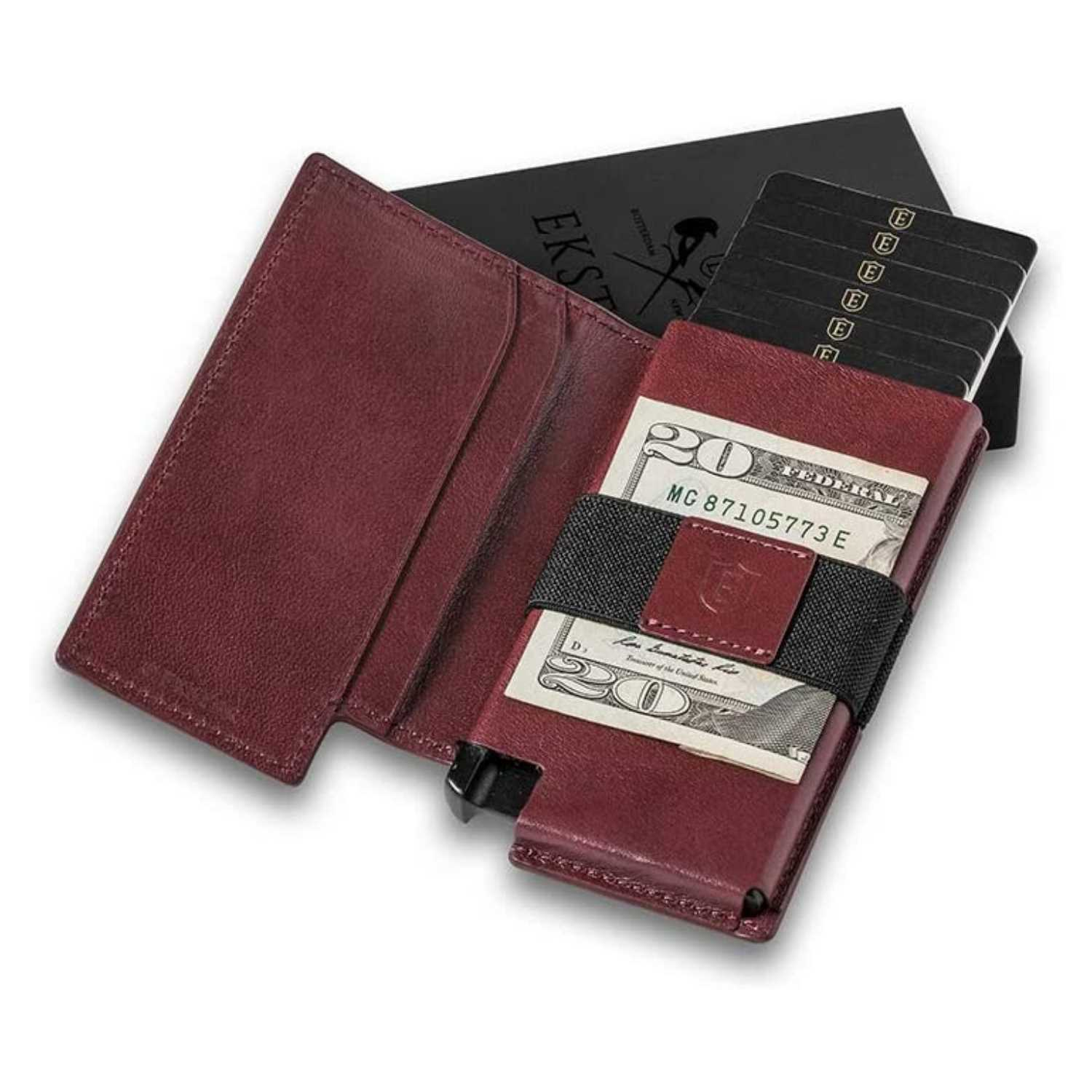 Ekster Secure Premium Trackable Leather Wallet Open with Cash - Luxury Anniversary Gift Ideas For Him