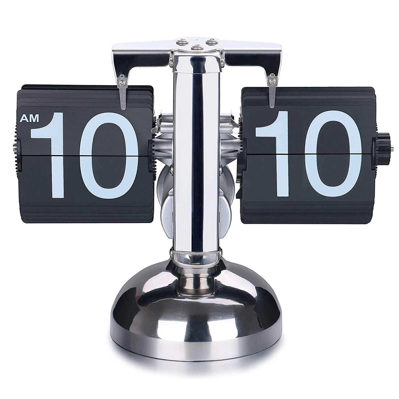 Retro Chrome Minimalist Mechanical Flip Down Clock Main Image - Cool Birthday Gifts For Men