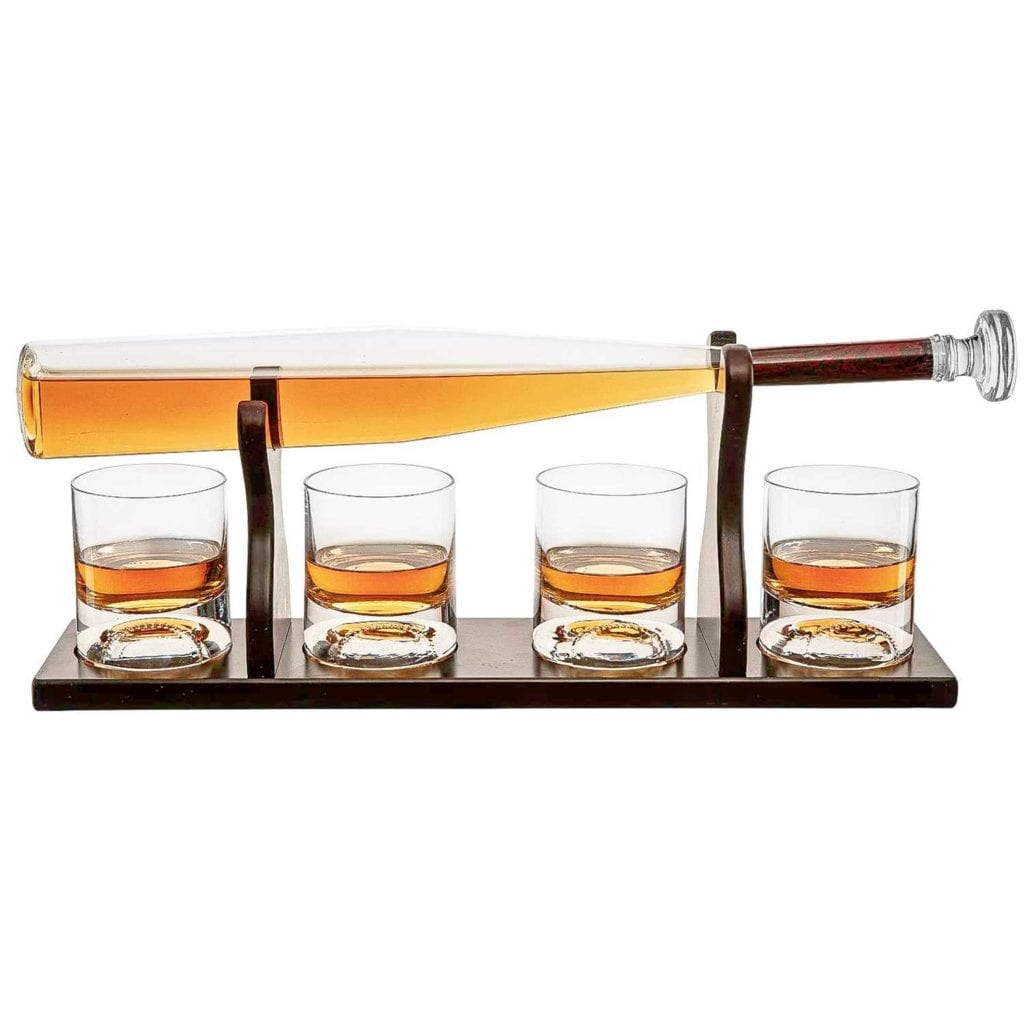 Baseball Bat Whiskey Decanter and Glass Set Main Image - Cool Birthday Gifts For Guys
