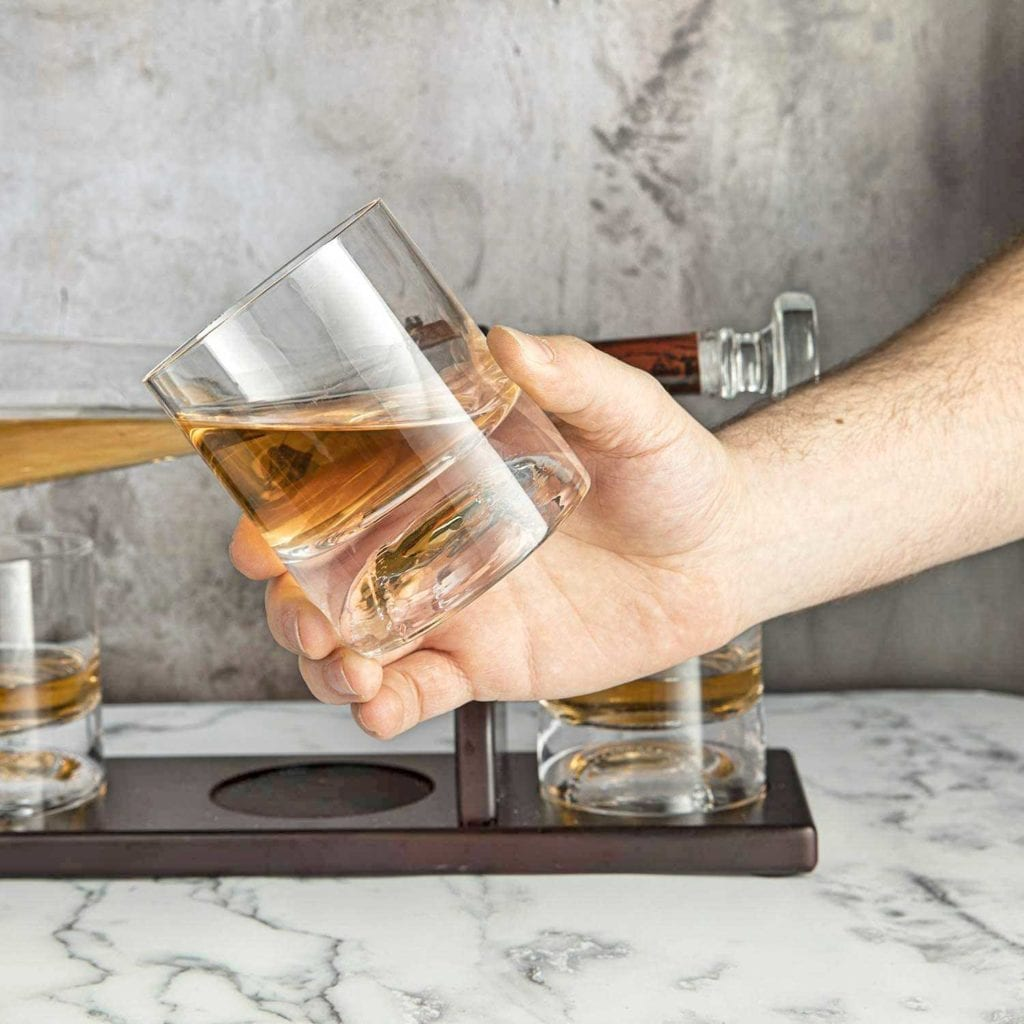 Baseball Bat Whiskey Decanter and Glass Set in Hand - Cool Birthday Gifts For Guys