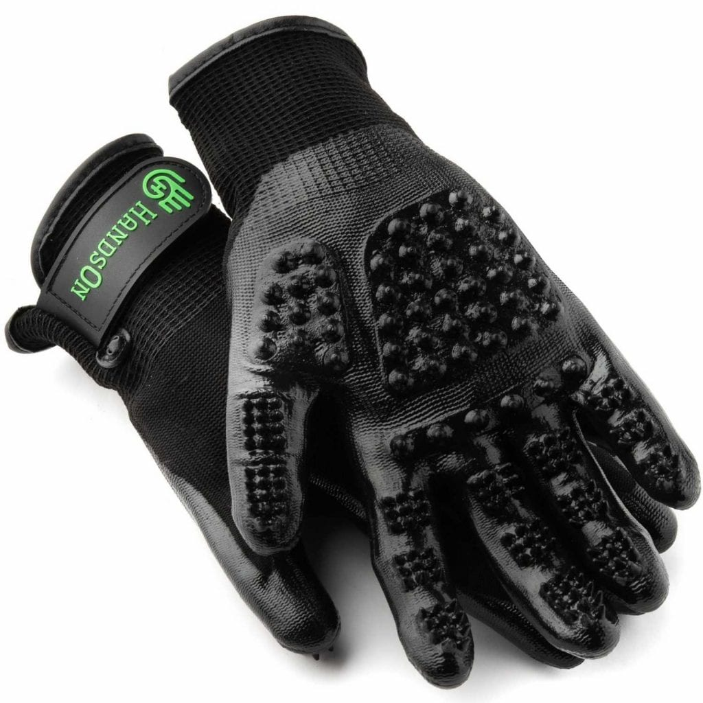 Textured Pet Shedding Washing and Grooming Gloves Set - Best Christmas Gifts For Pet Lovers